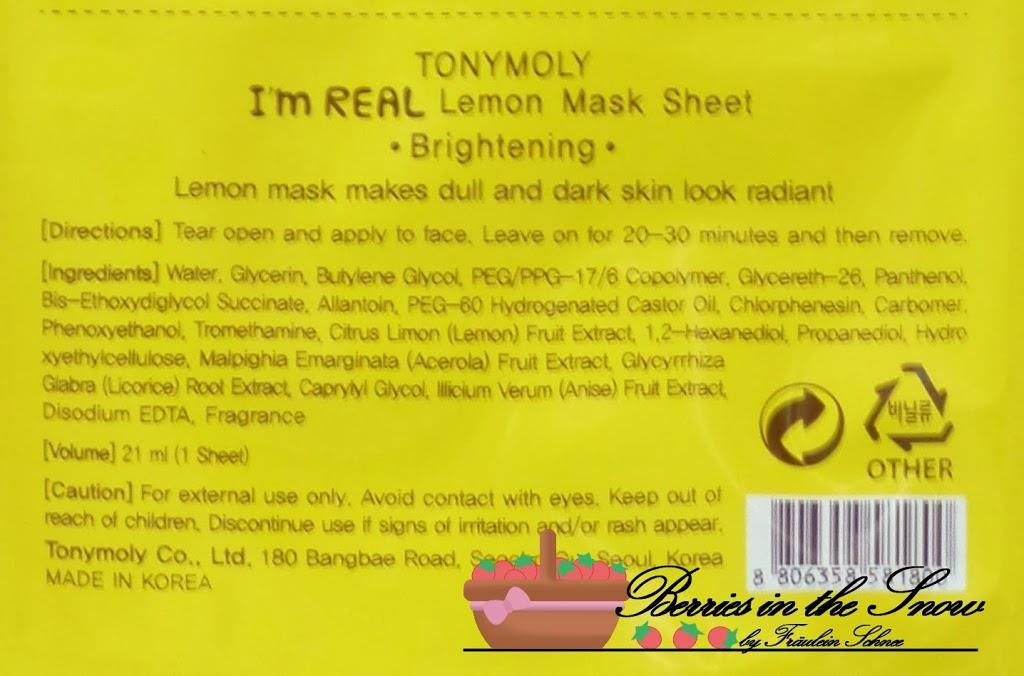 Tonymoly I'm Real Lemon Mask Sheet for Brightening