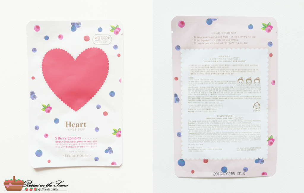 Etude House I Need You Heart Sheet Mask